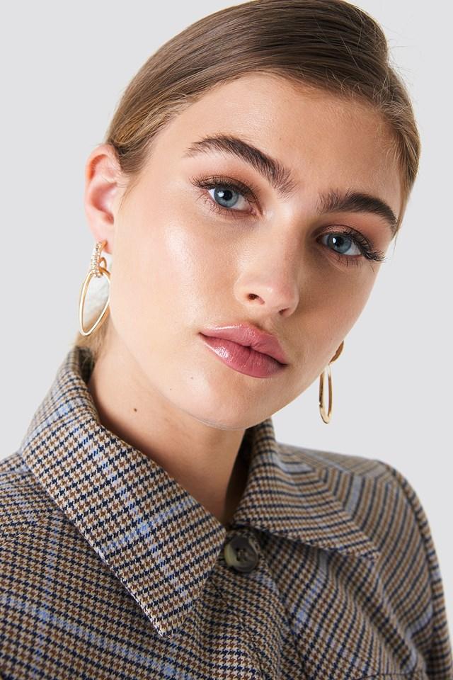 Embellished Asymmetric Oval Earrings Gold