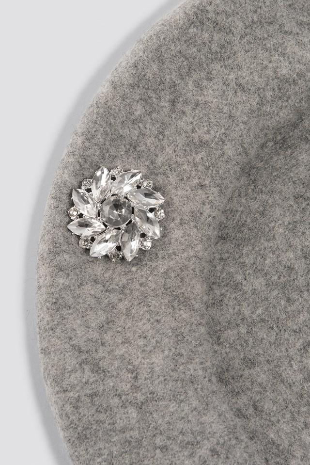 Embellished Beret Hat Grey