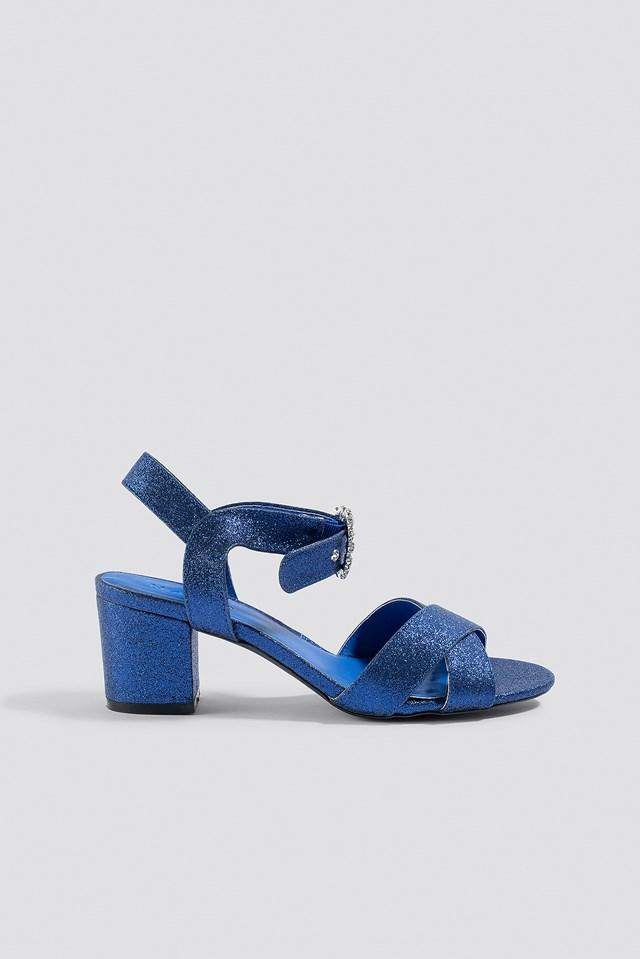 Embellished Buckle Glitter Sandals Blue