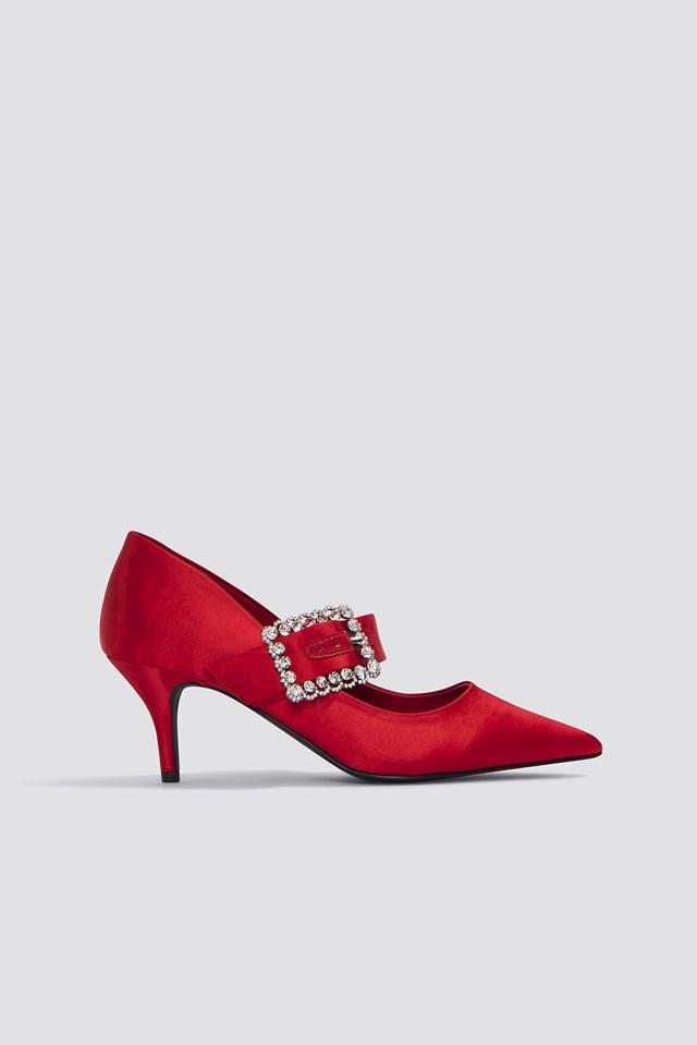 Embellished Buckle Mid Heels Red