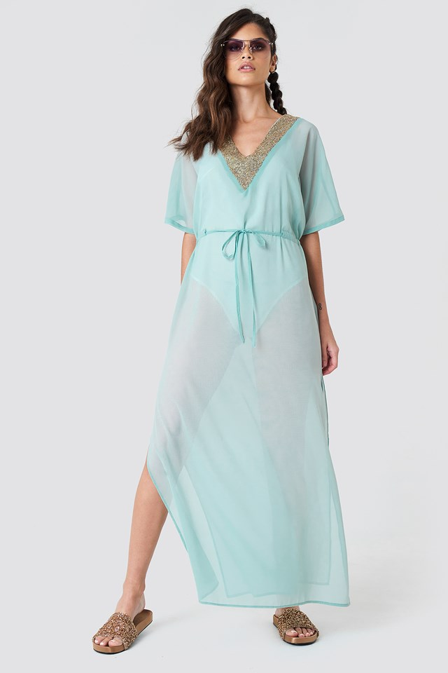 Embellished Caftan Dress Duck Green