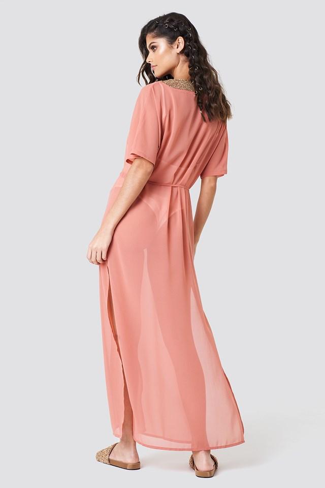 Embellished Caftan Dress Dark Rose
