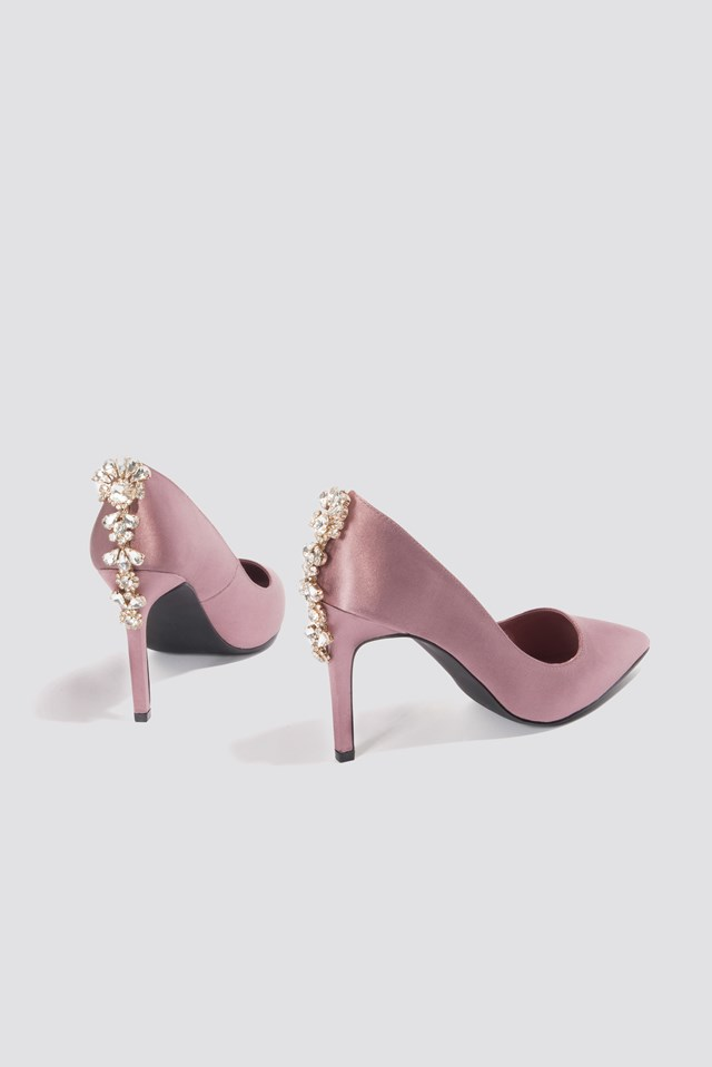 Embellished Heel Satin Pumps Dusty Dark Pink
