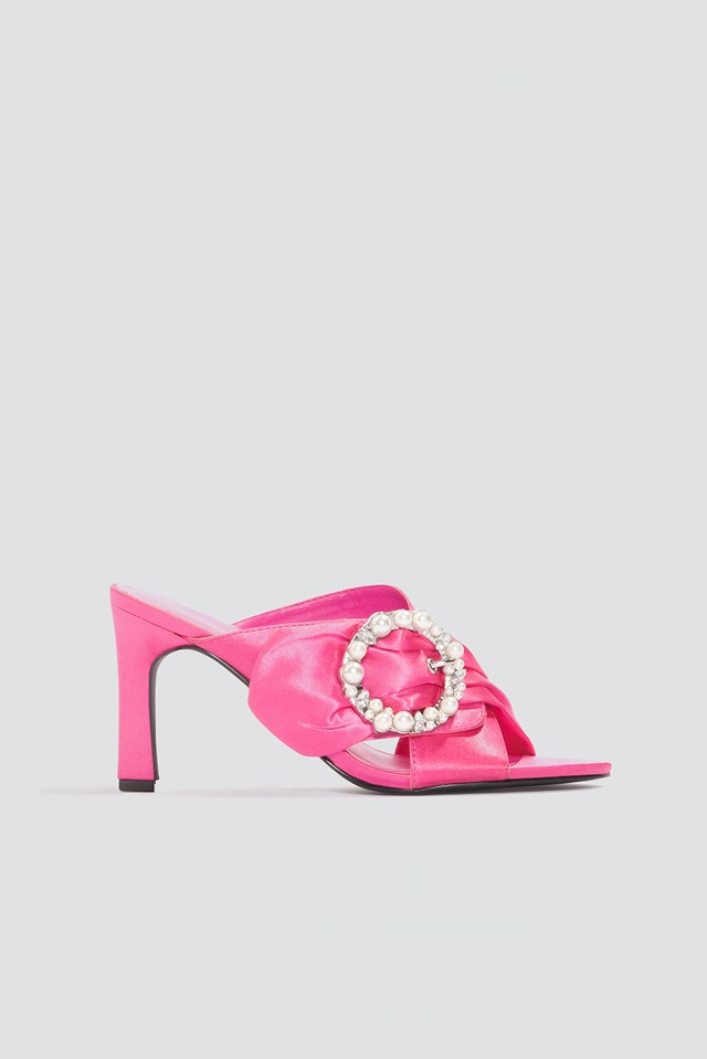 Embellished Heeled Mule Sandals Pink