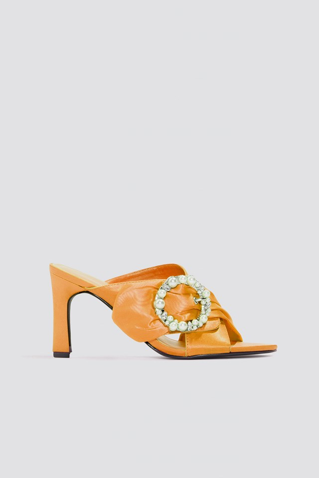 Embellished Heeled Mule Sandals Orange