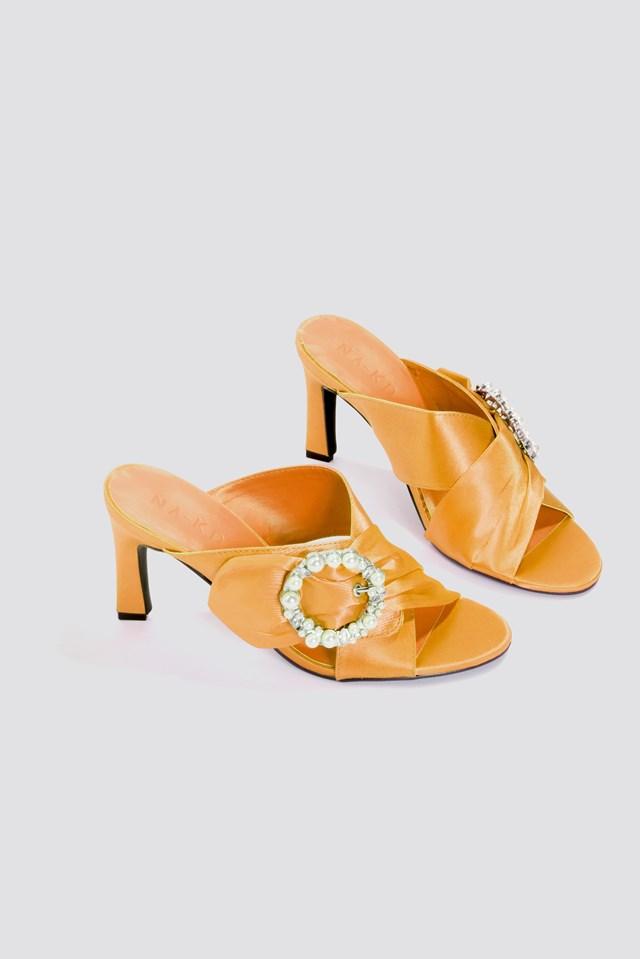 Embellished Heeled Mule Sandals Orange