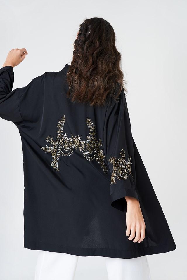 Embellished Kimono Black