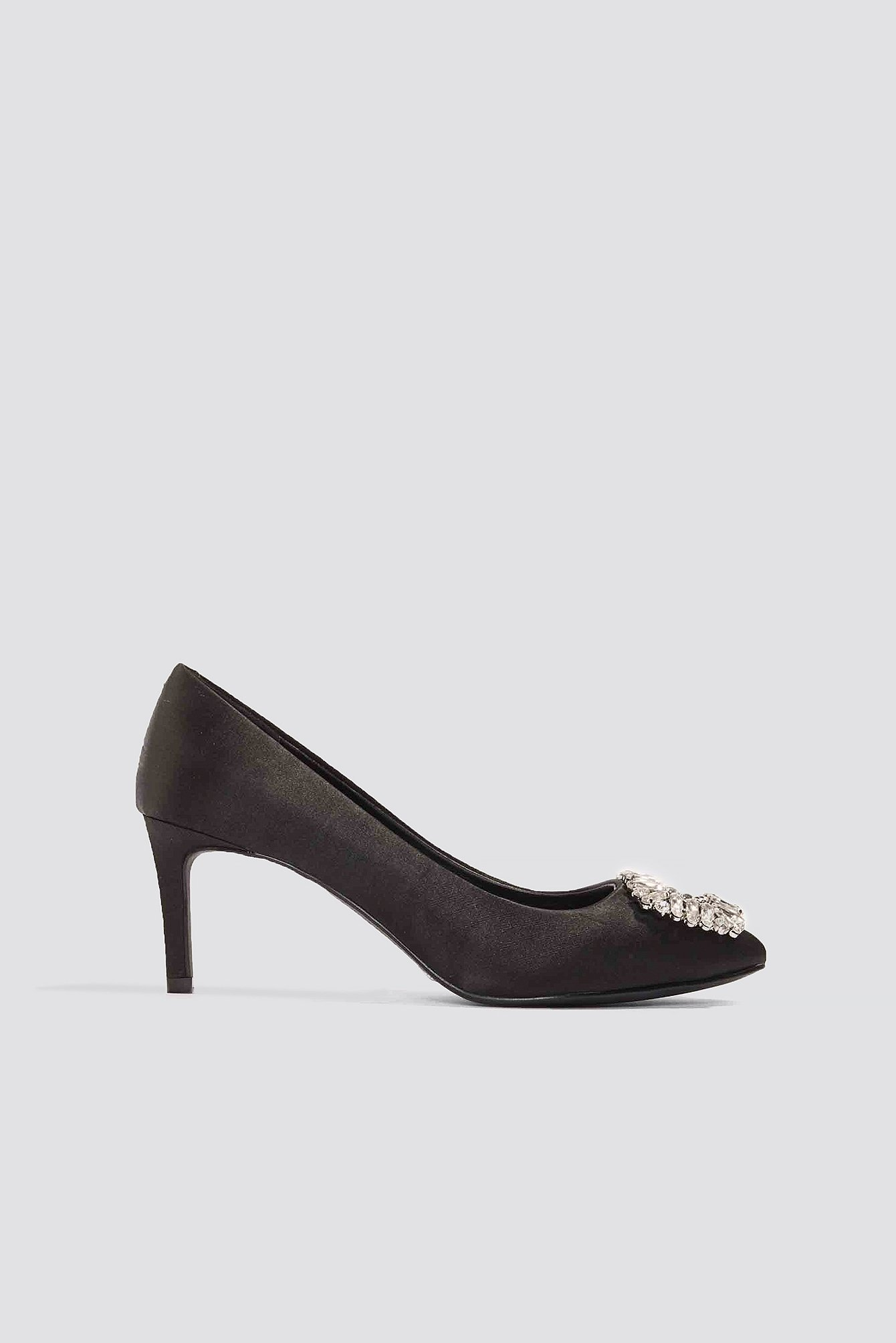 Embellished Mid Heel Satin Pumps NA-KD.COM