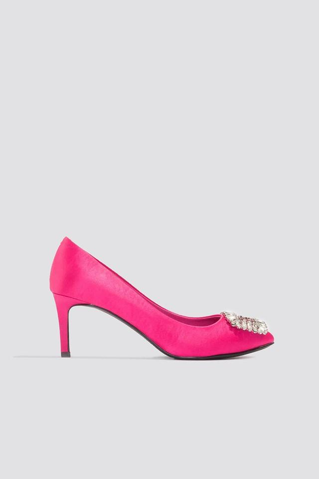 Embellished Mid Heel Satin Pumps Magenta