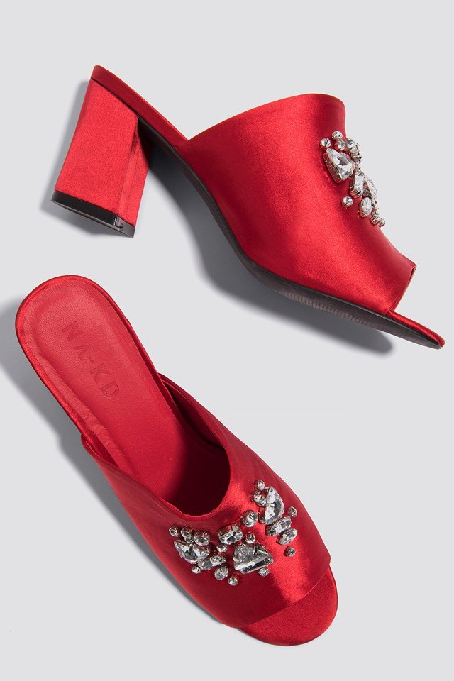 Embellished Mule Sandals Red