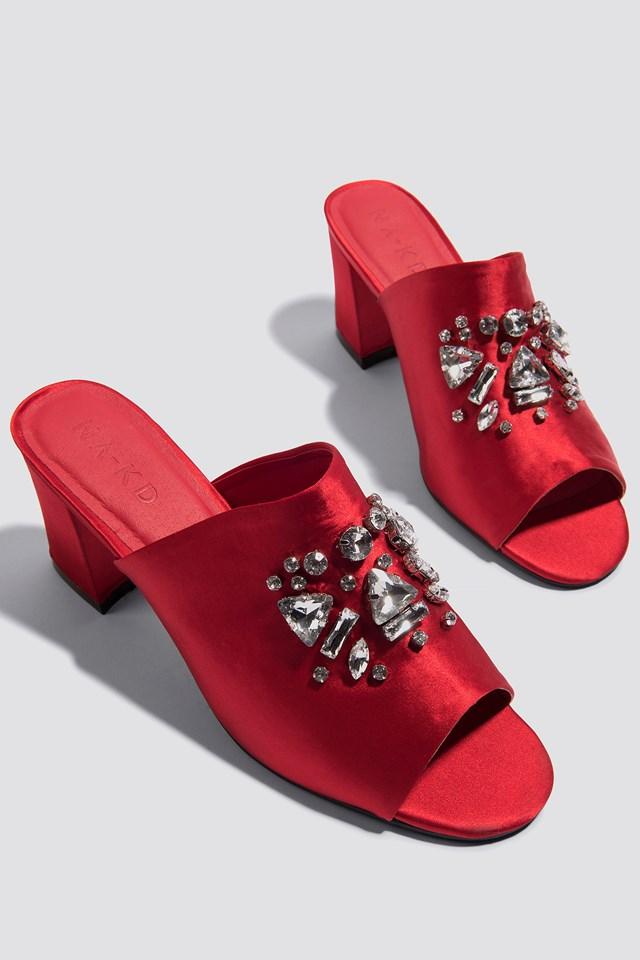 Embellished Mule Sandals Red