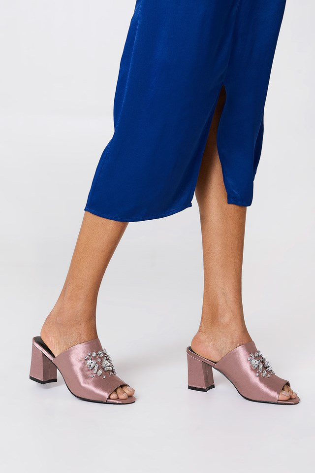 Embellished Mule Sandals Dusty Dark Pink