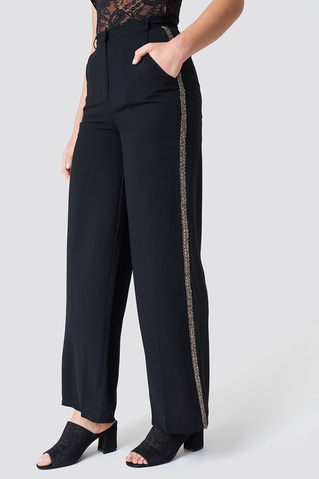 Spodnie z ozdobnymi lampasami Black