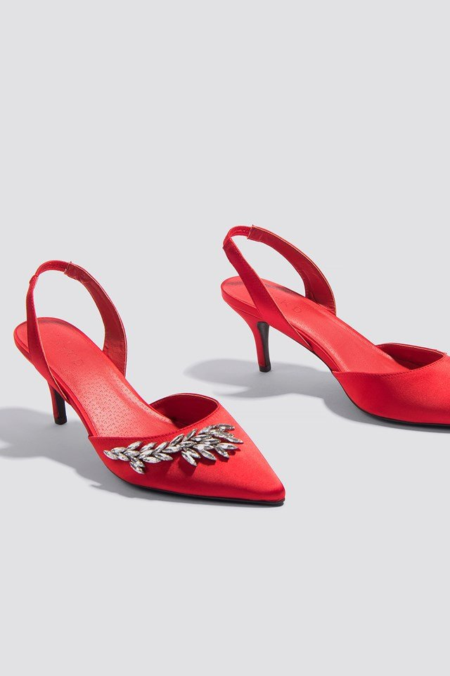 Embellished Slingback Pumps Red