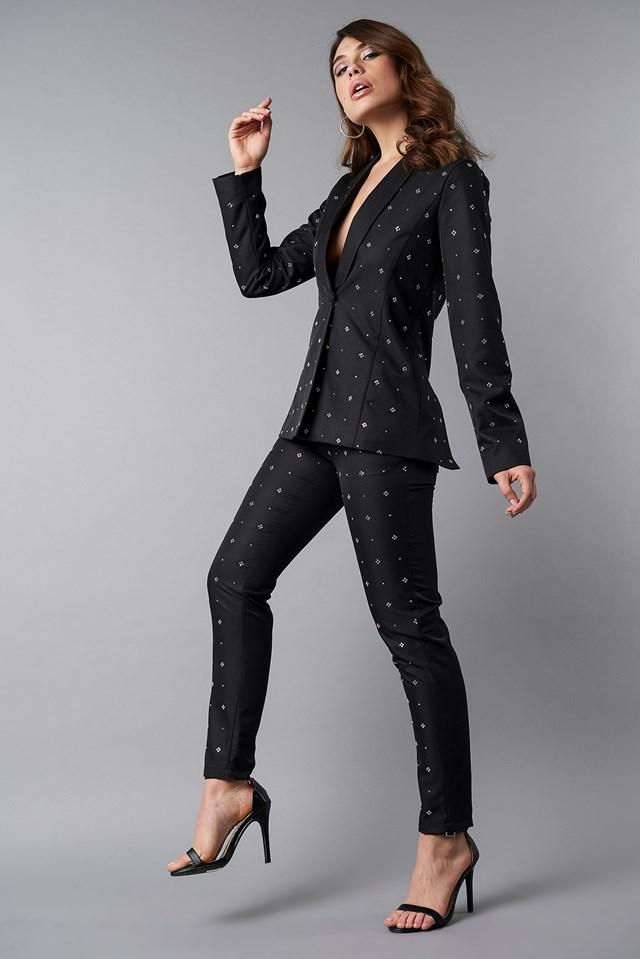 Embellished Suit Pants Black