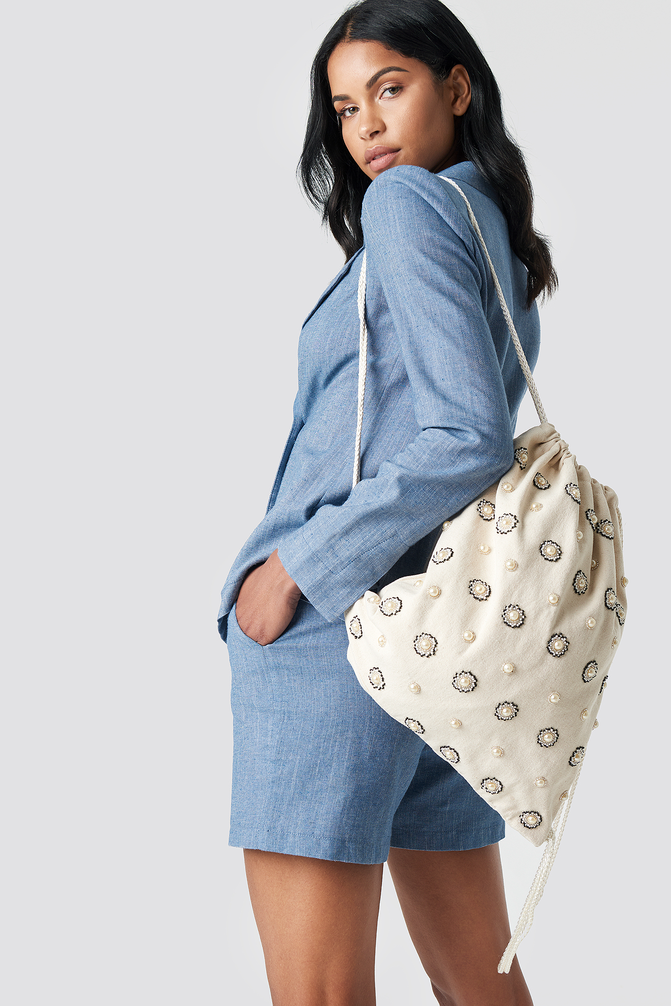 EMBELLISHED TOTE SACK - OFFWHITE