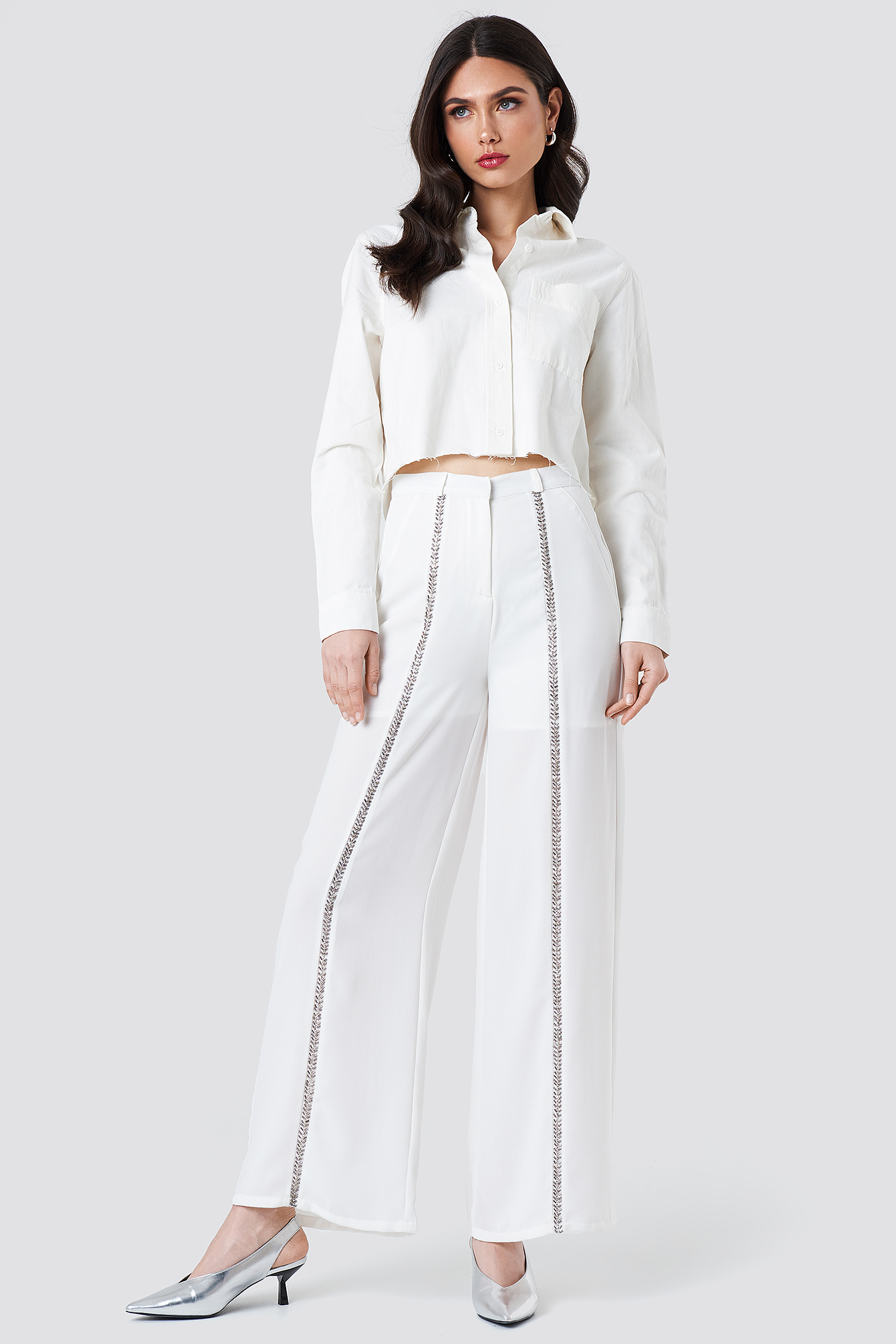 Embellished Front Stripe Pants NA-KD.COM