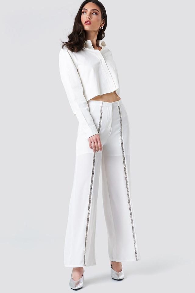 Embellished Front Stripe Pants White