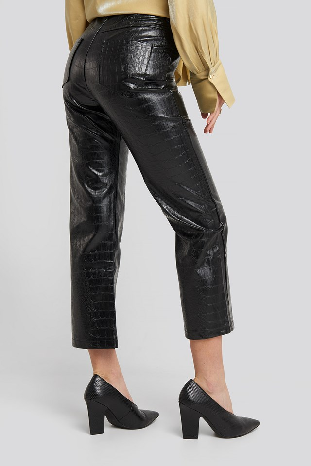 Embossed Croco Pu Pant Black
