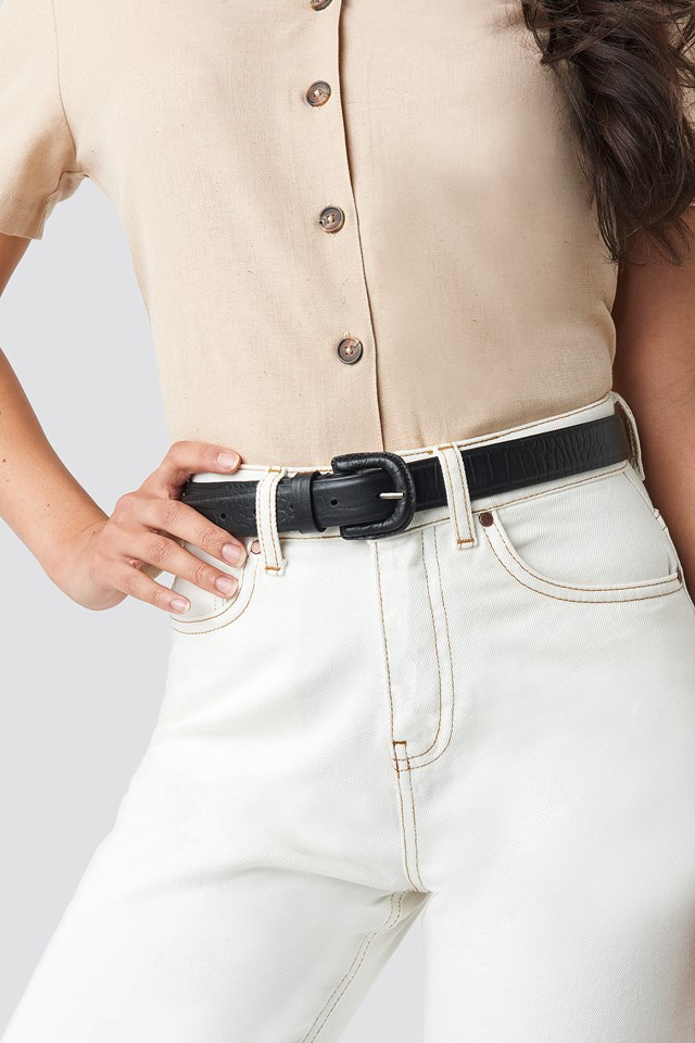 Embossed Leather Belt Black