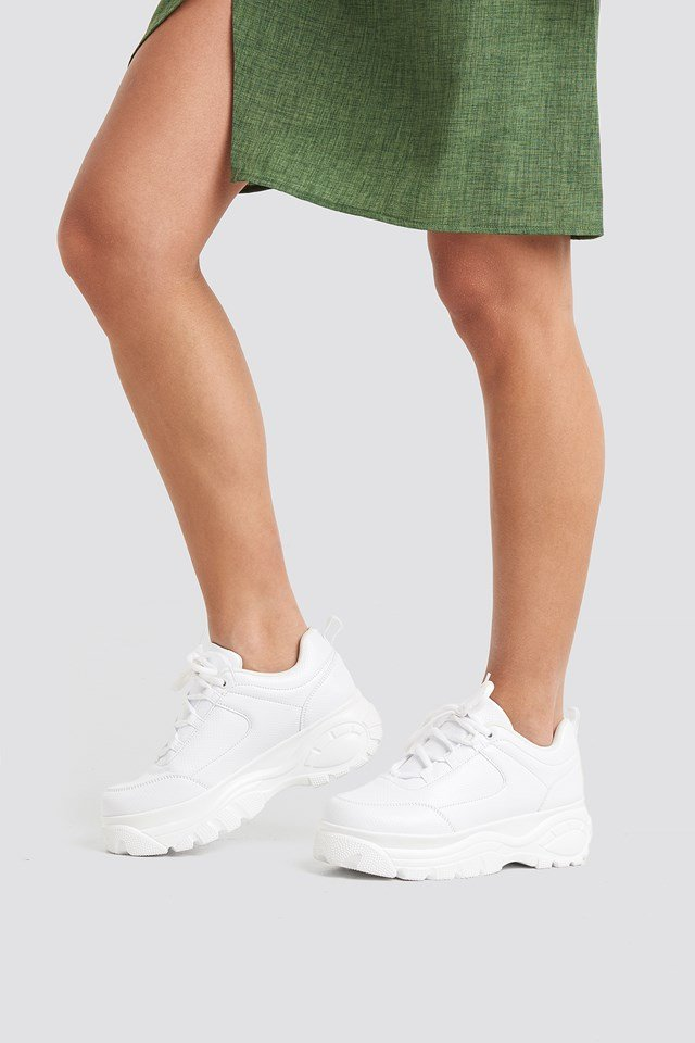 Embossed Chunky Platform Trainers White