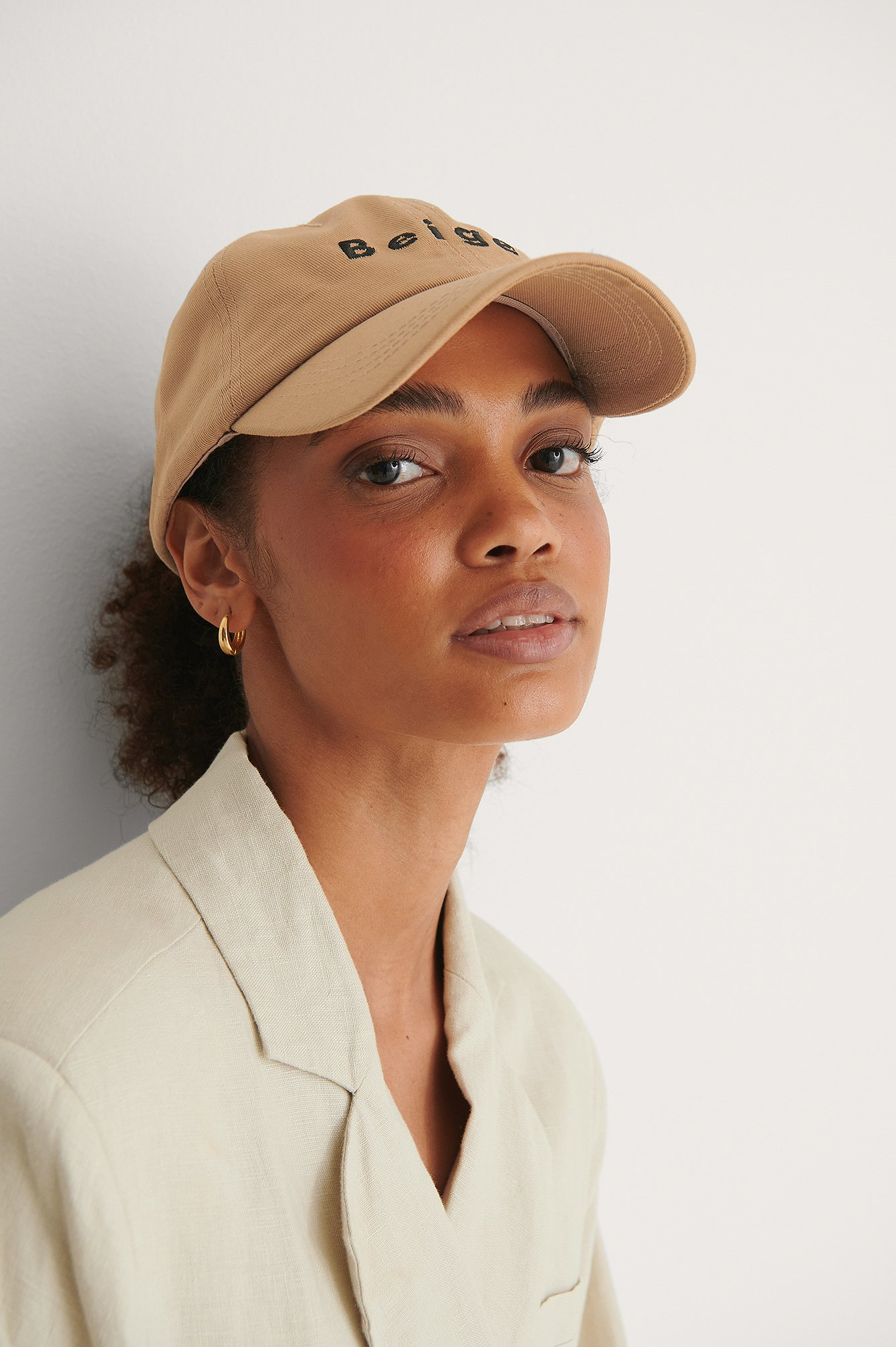 Beige Embroidered Cap