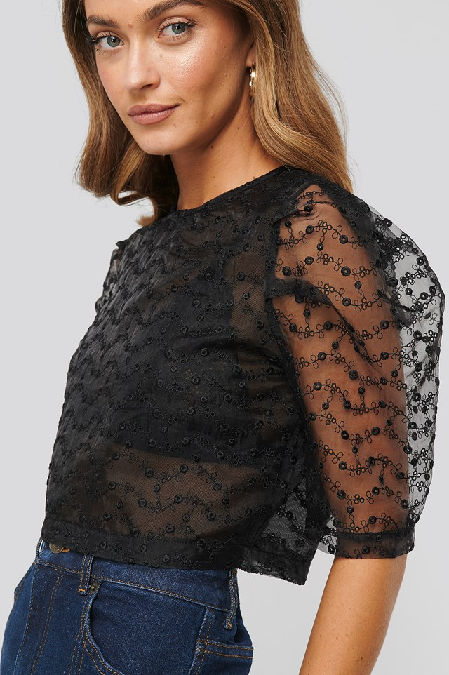 Embroidered Organza Blouse Black