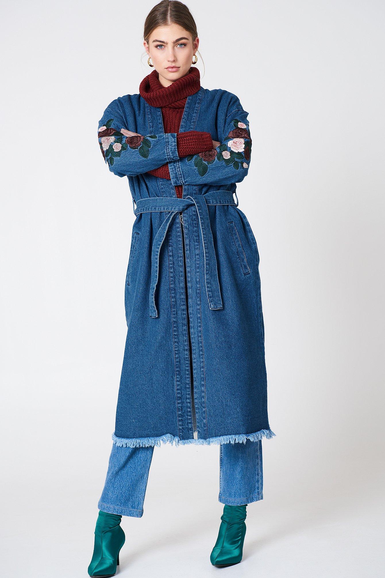na-kd -  Embroidery Denim Coat - Blue