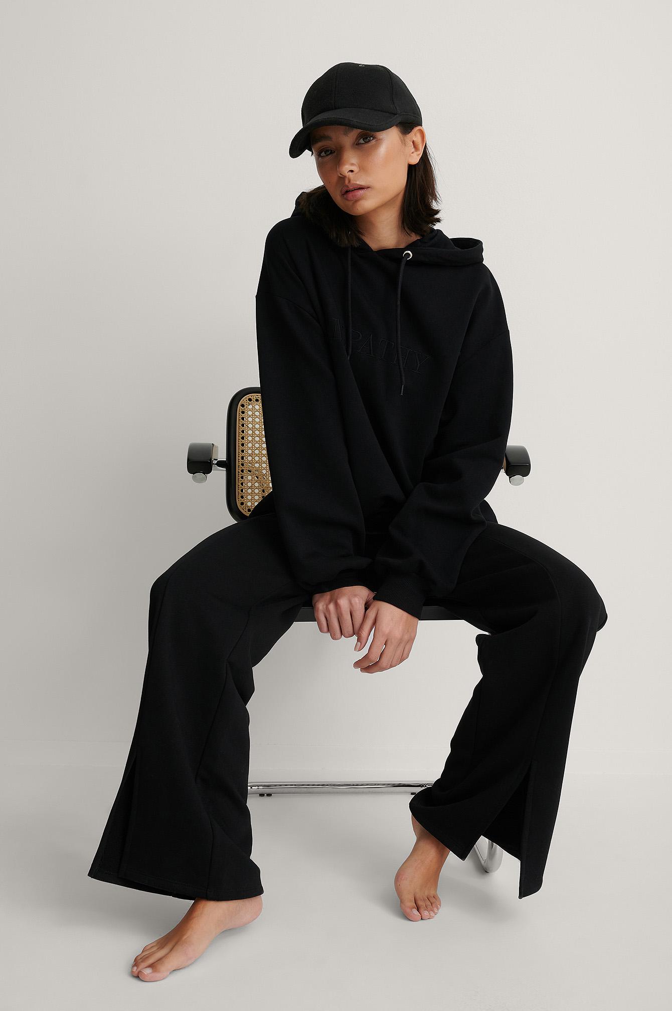 NA-KD Reborn Økologisk Oversize Hættetrøje Med Broderidetalje - Black