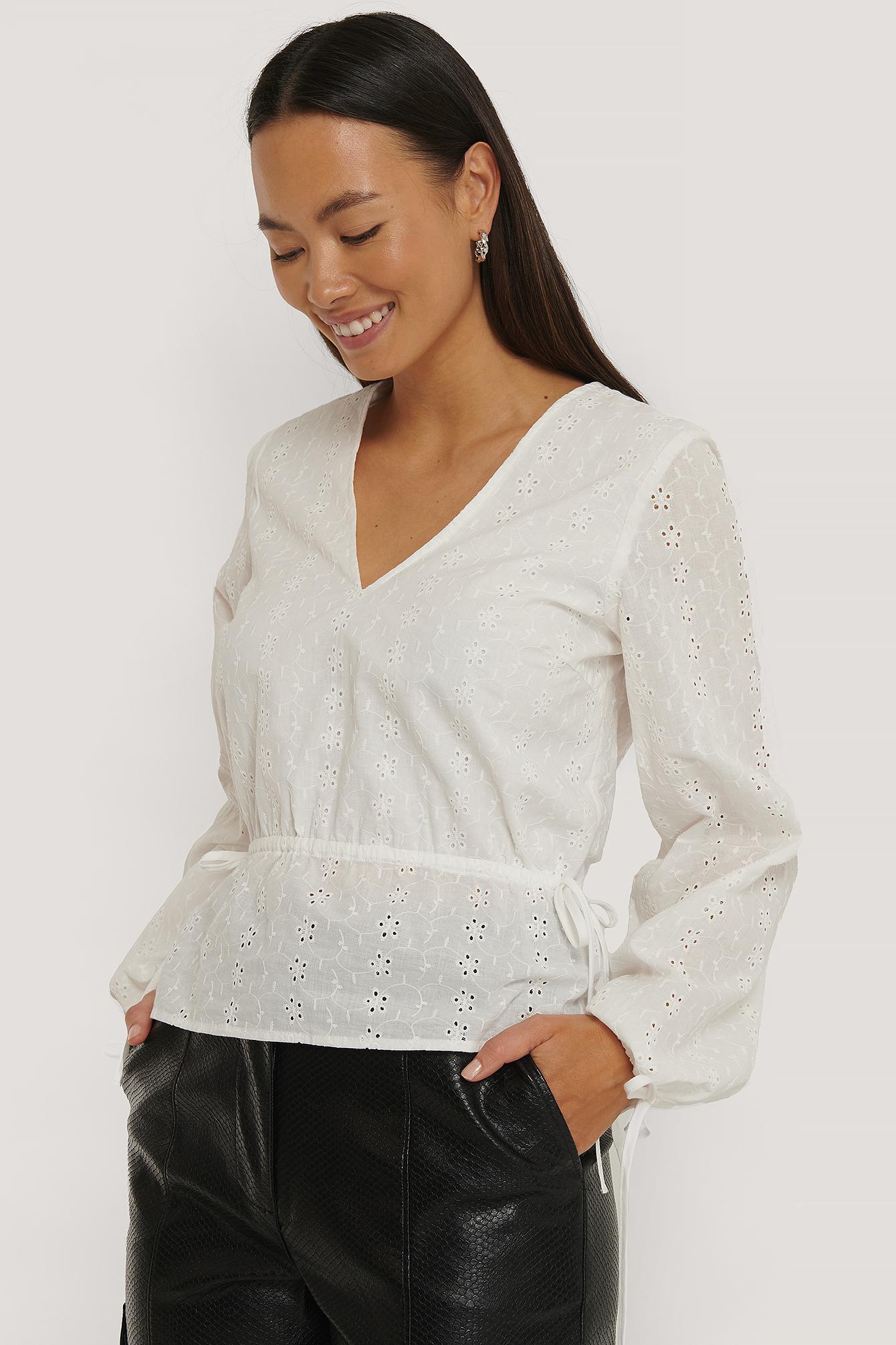 NA-KD Boho Embroidery Drawstring Blouse - White