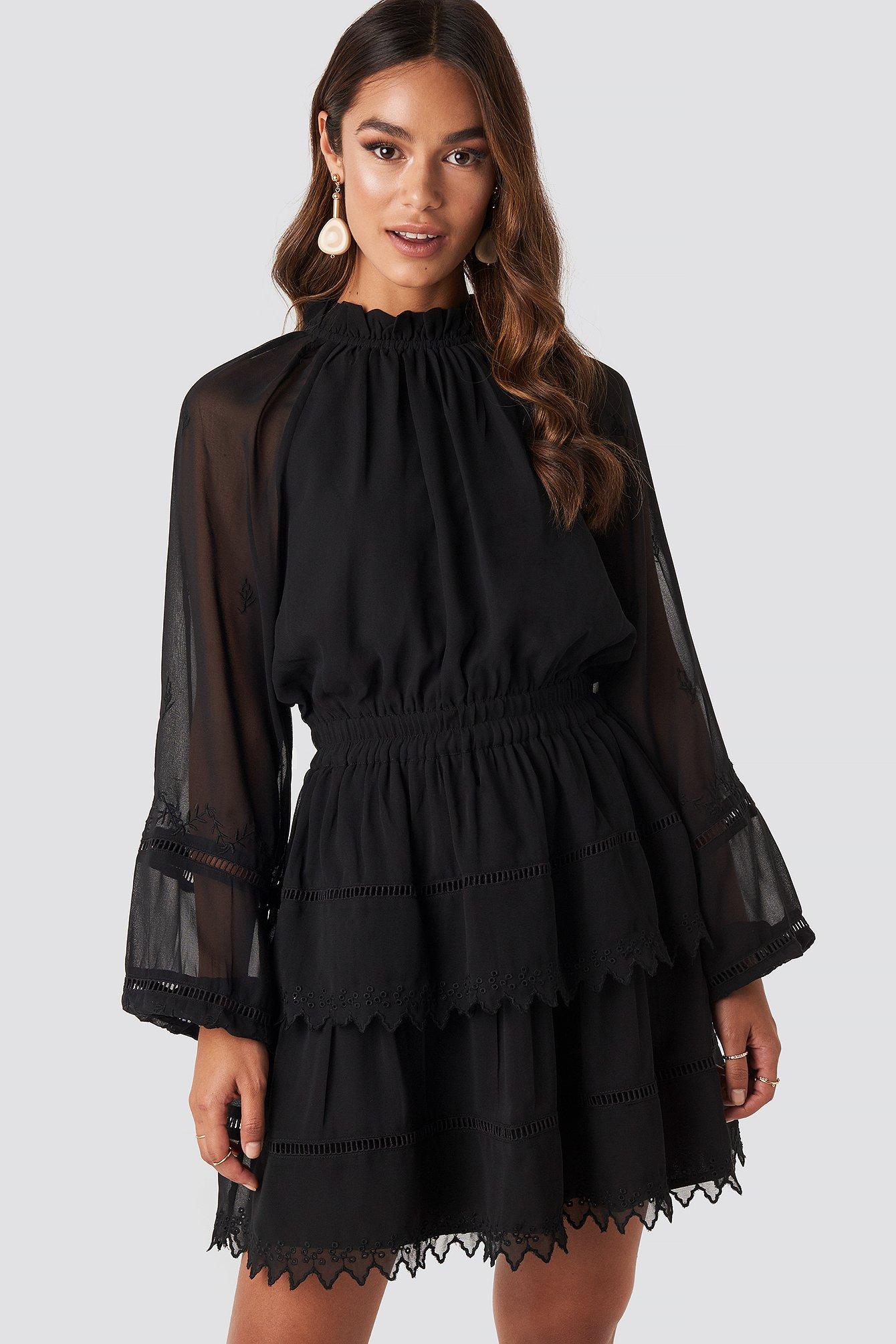 Embroidery Mini Dress Noir by Na Kd Boho