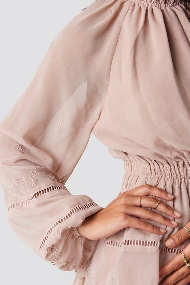 Embroidery Mini Dress Dusty Pink