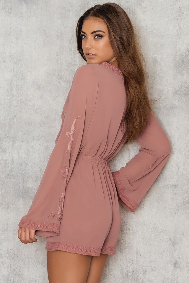 Embroidery Playsuit Dusty Dark Pink