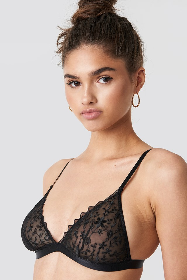 Embroidery Sheer Triangle Bra Black
