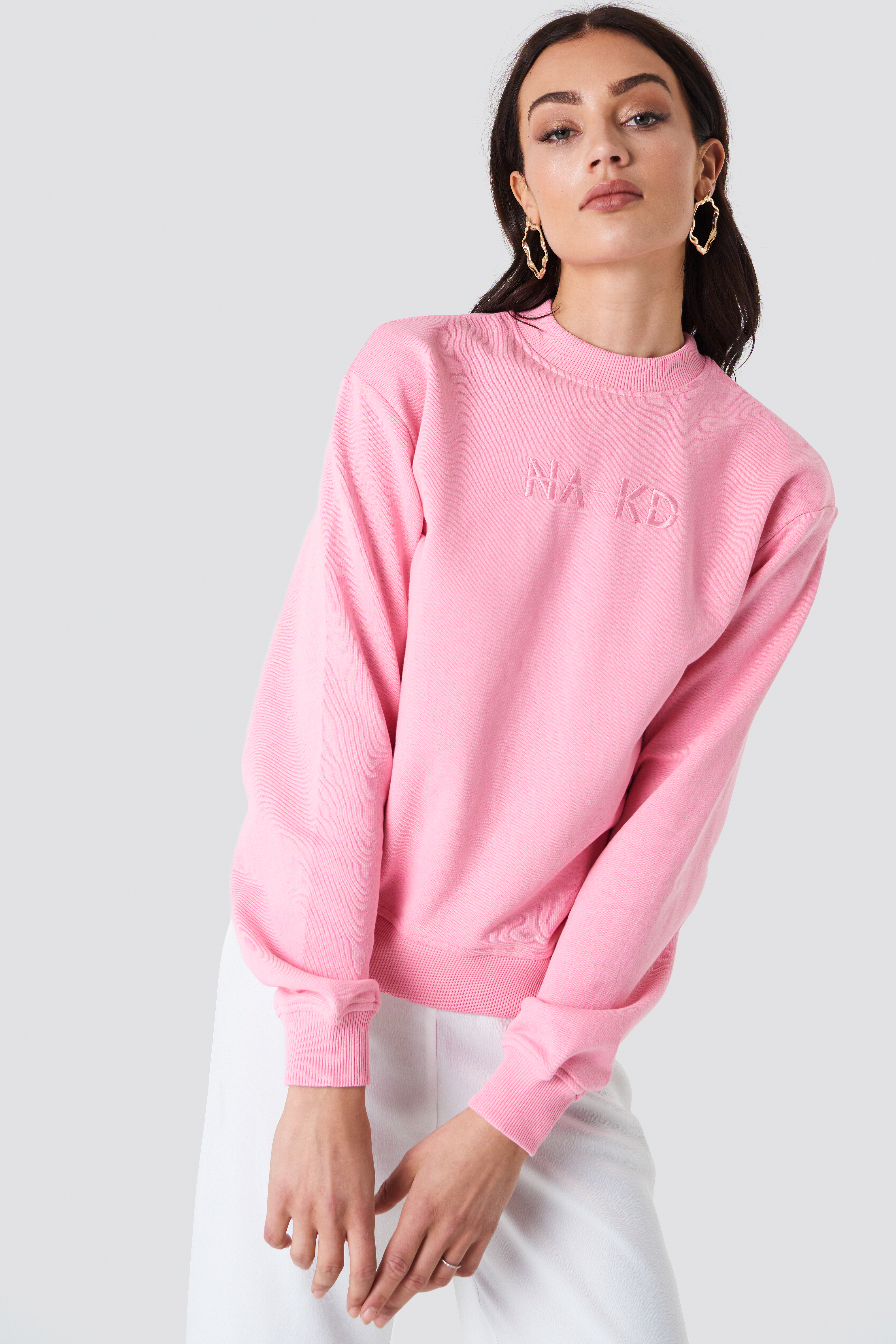NA-KD EMBROIDERY SWEATER - PINK