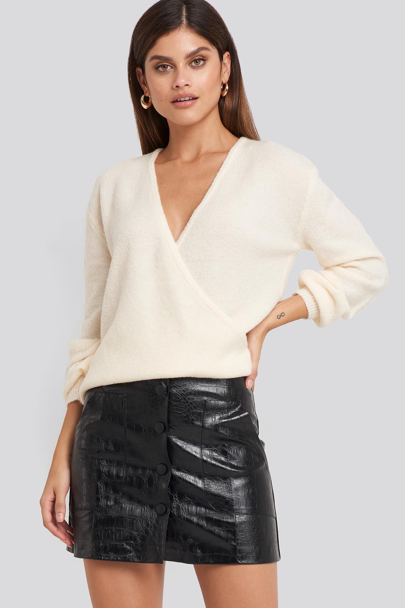 na-kd trend -  Embossed Croco Pu Mini Skirt - Black