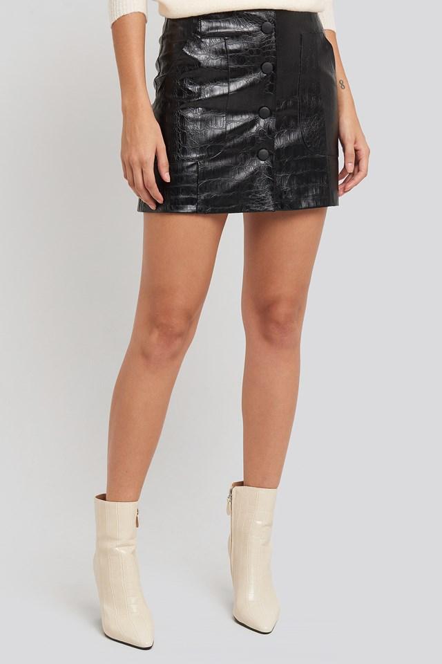 Embossed Croco Pu Mini Skirt Black