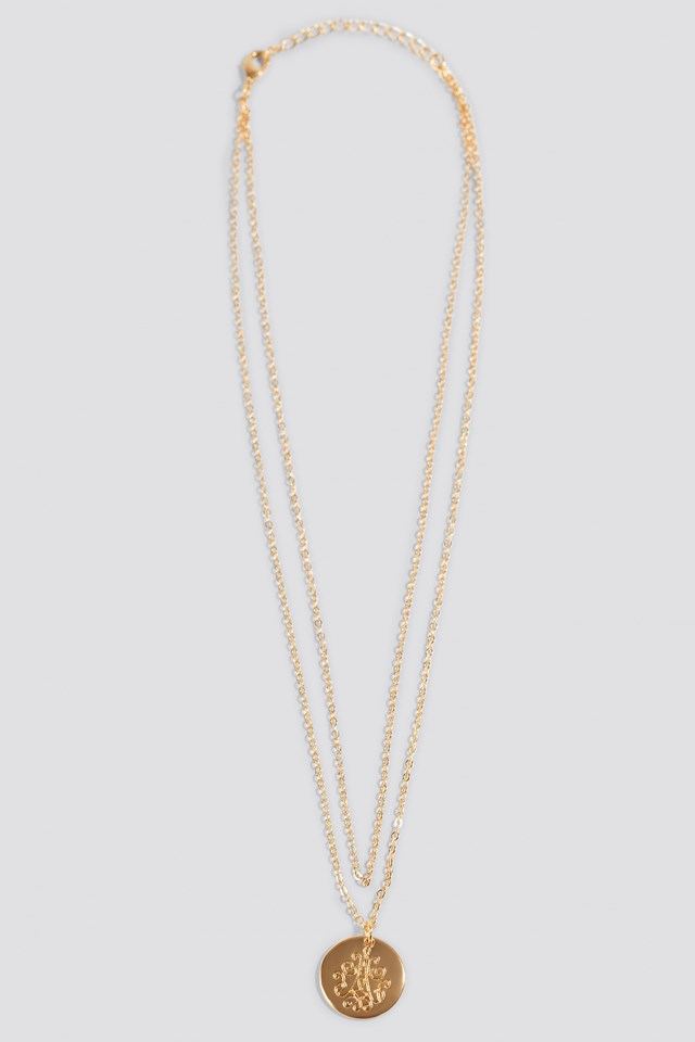 Engraved Round Plate Necklace Gold