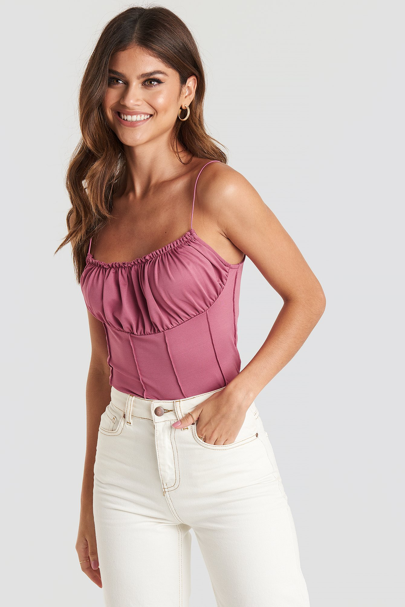 Exposed Seam Cami Top Rosa by Na Kd Party