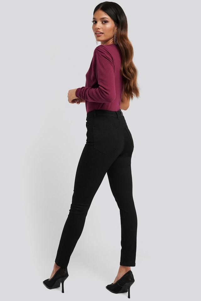 Exposed Zipper High Waist Skinny Jeans Black