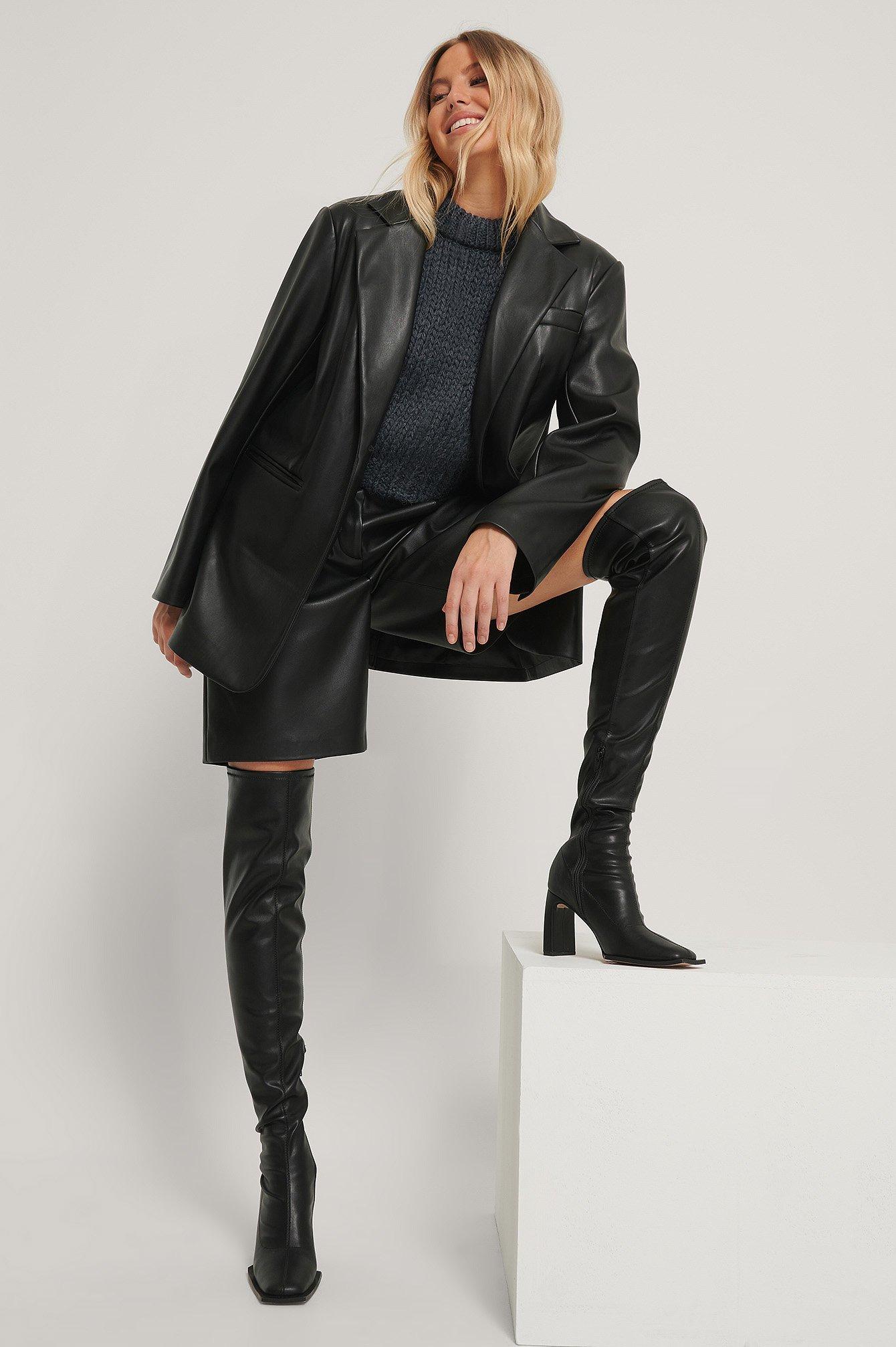 na-kd shoes -  Extended Welt Oberschenkelhohe Stiefel - Black