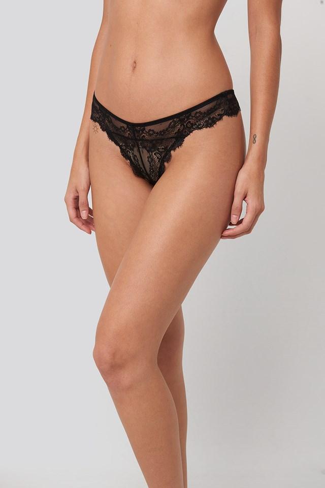 Eyelash Lace Thong Black