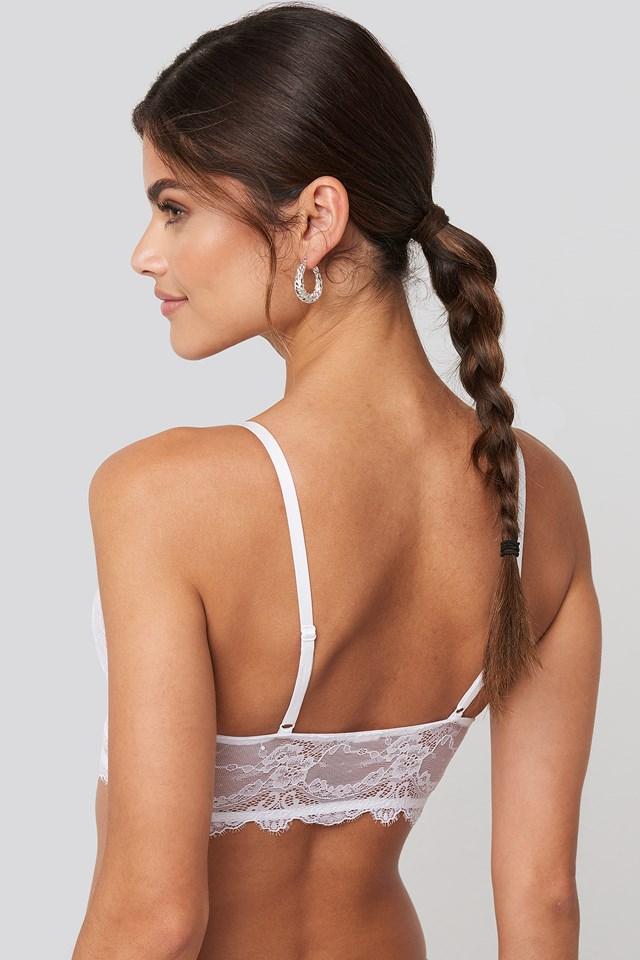 Eyelash V Neck Lace Bralette White