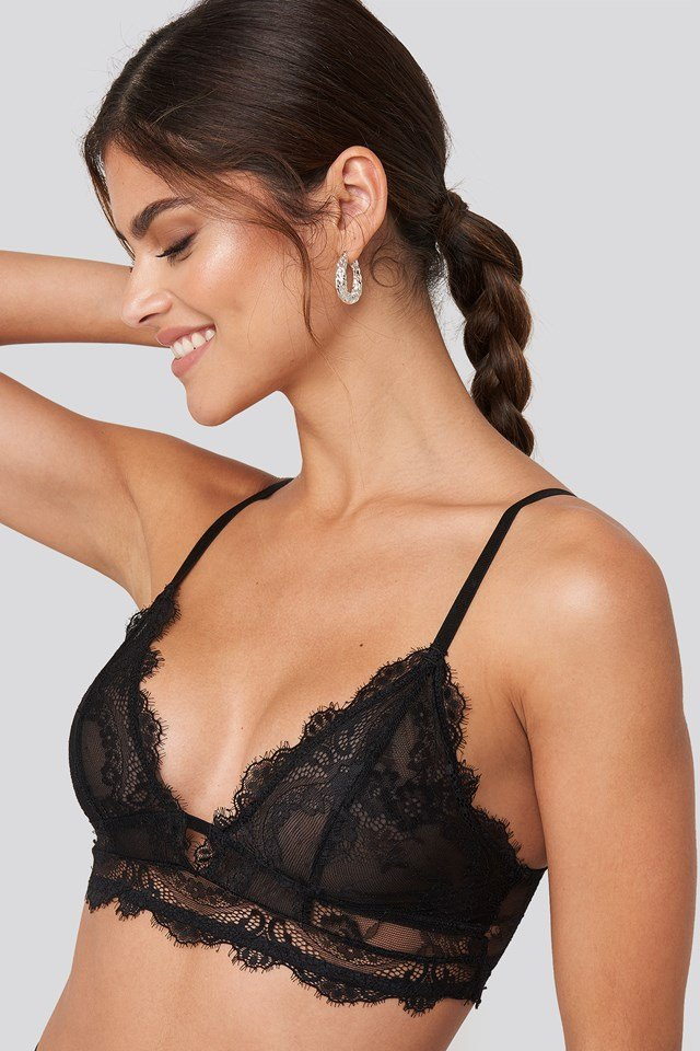 Eyelash V Neck Lace Bralette Black