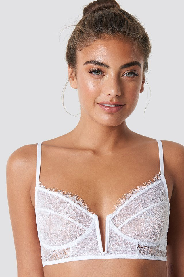 Eyelash V Lace Bra White
