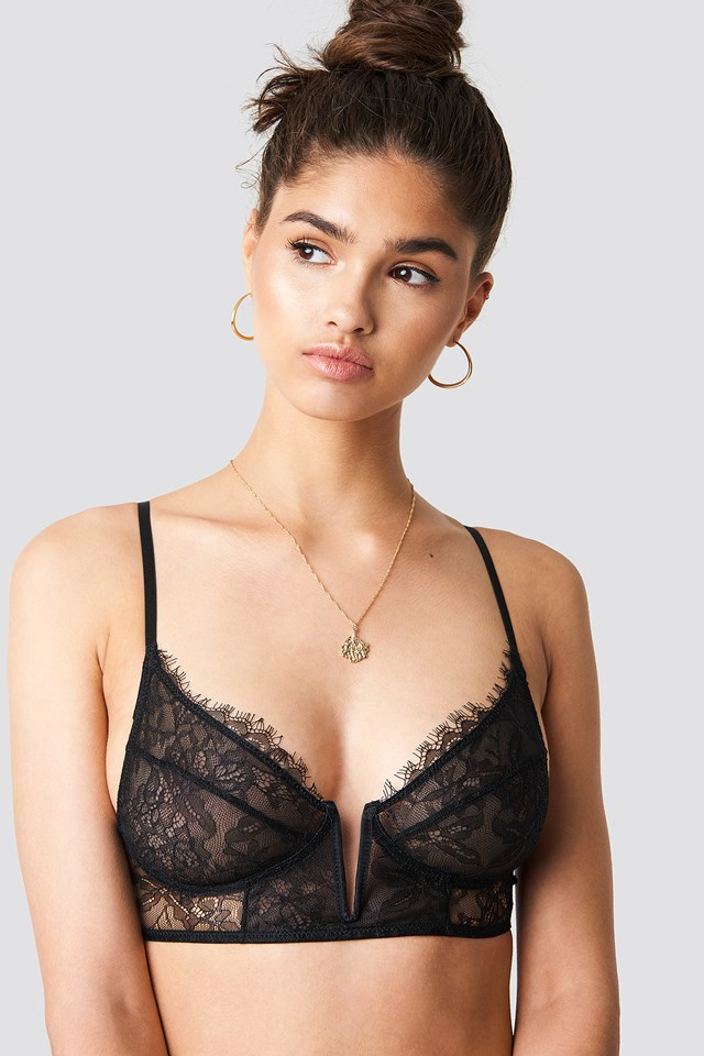 Eyelash V Lace Bra Black