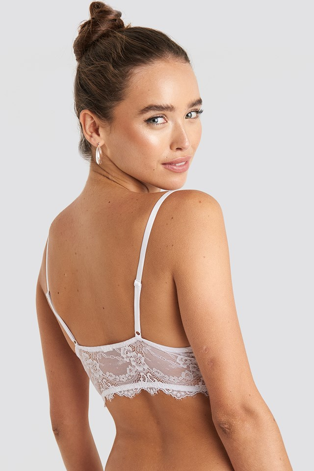 Eyelash V Neck Lace Bralette White