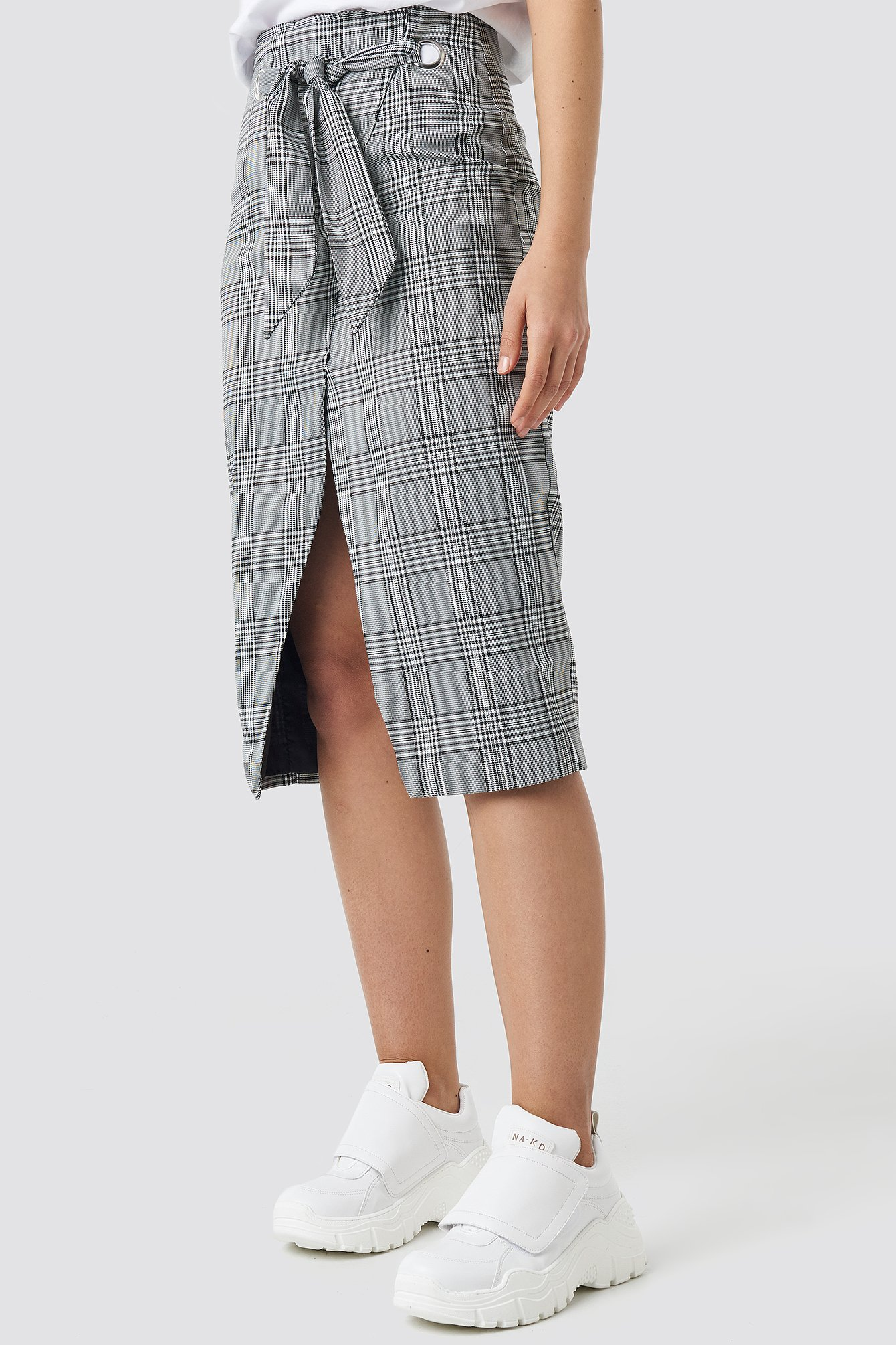 Eyelet Wrap Checkered Skirt NA-KD.COM