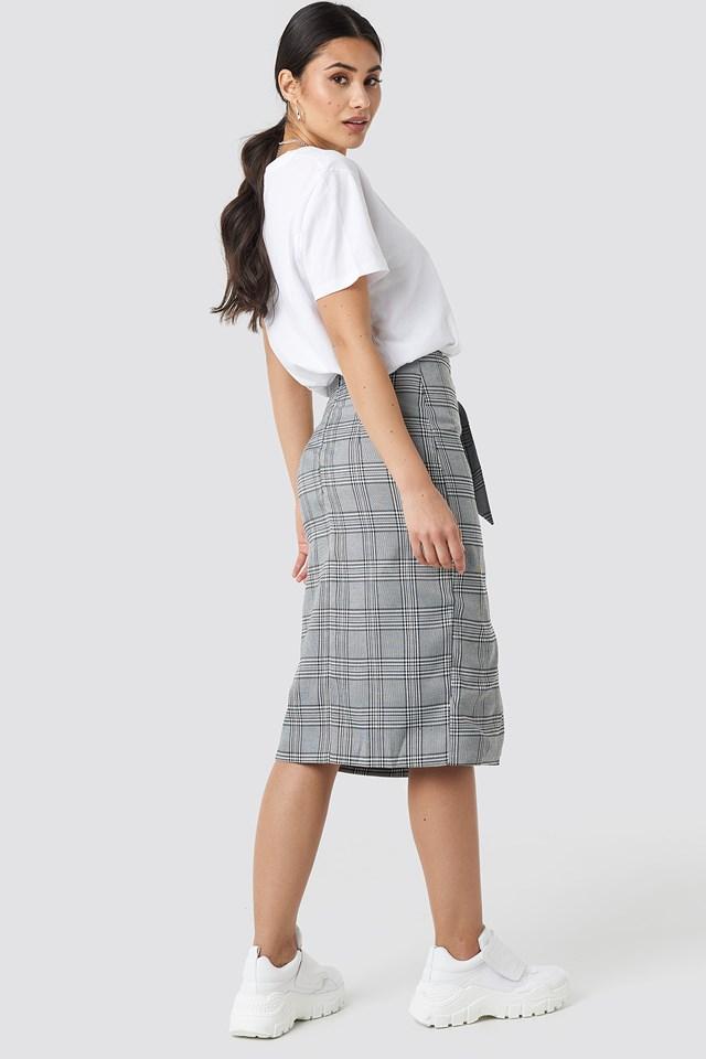 Eyelet Wrap Checkered Skirt Checkered
