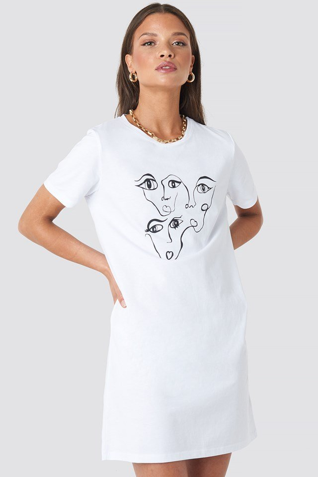 Face Printed T Shirt Dress White